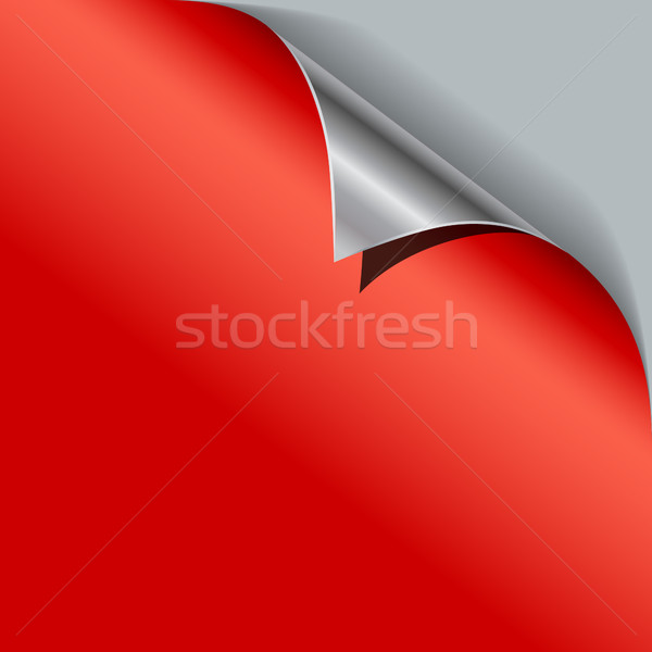 Red paper curled metallic corner vector template. Stock photo © tuulijumala