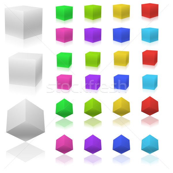 Vector set of 3D color cubes isolated on white background. Stock photo © tuulijumala