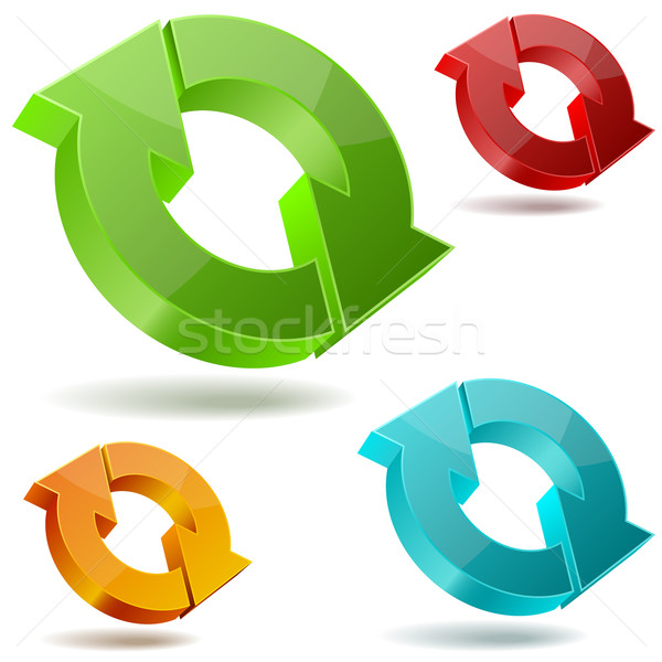 Vector icons of glossy circulating 3D arrows isolated on white b Stock photo © tuulijumala