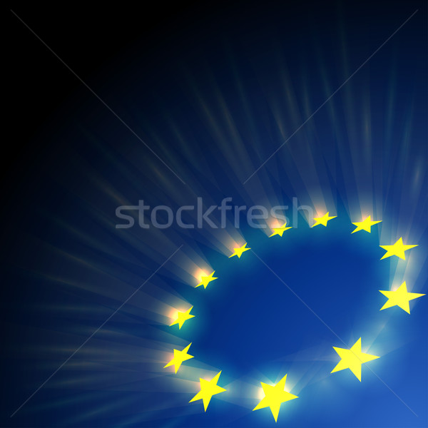 European Union stars glare on dark blue background. Stock photo © tuulijumala