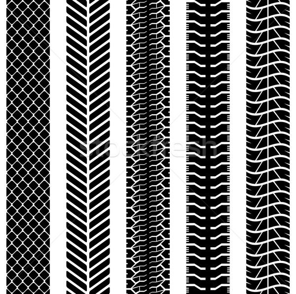 Black and white seamless truck tyre tracks template. Stock photo © tuulijumala