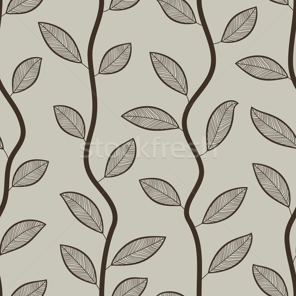 Seamless retro styled brown leaves vector wallpaper pattern. Stock photo © tuulijumala