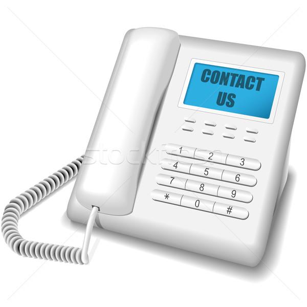 Moderne witte telefoon geïsoleerd icon Stockfoto © tuulijumala