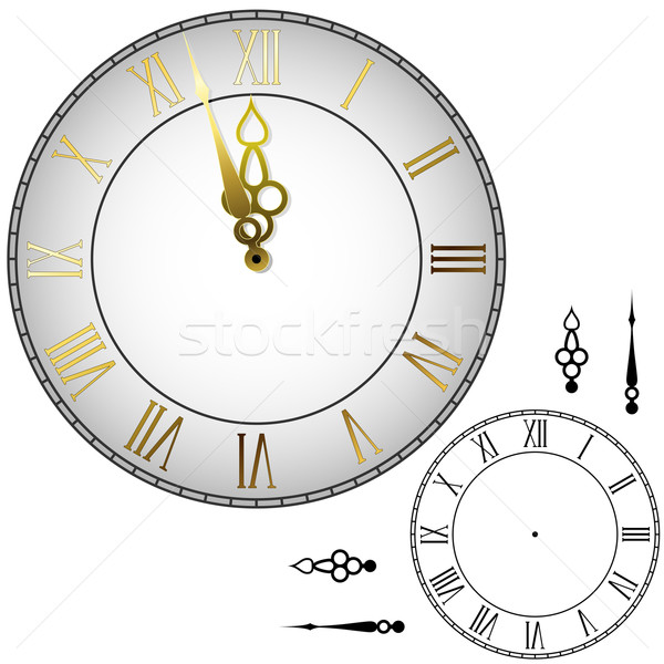 Old-fashioned wall clock with hands about midnight with black an Stock photo © tuulijumala