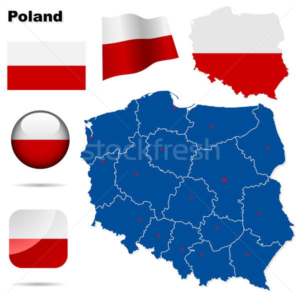 Сток-фото: Польша · вектора · набор · подробный · стране · форма