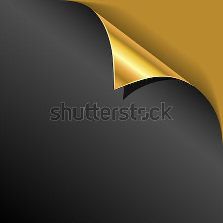 Black cover page gold corner curl vector template. Stock photo © tuulijumala