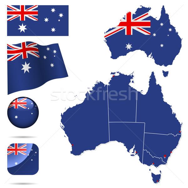 Austrália vetor conjunto detalhado país forma Foto stock © tuulijumala