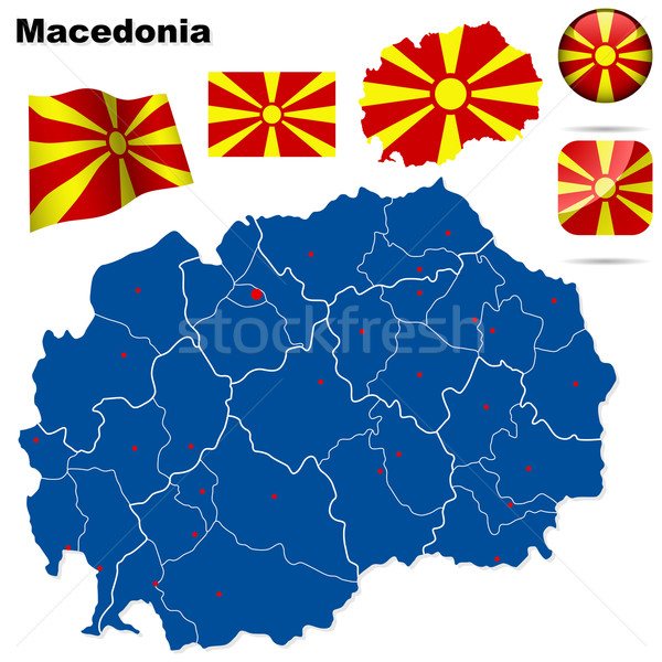 Stock fotó: Macedónia · vektor · szett · részletes · vidék · forma