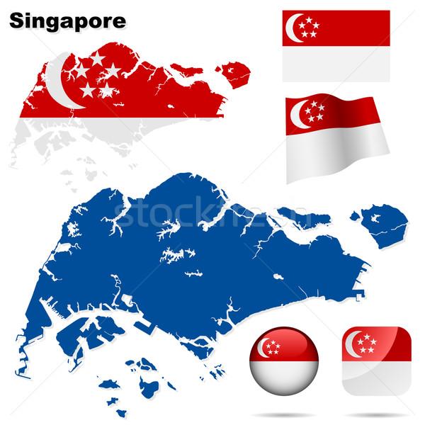 Stockfoto: Singapore · vector · ingesteld · gedetailleerd · land · vorm