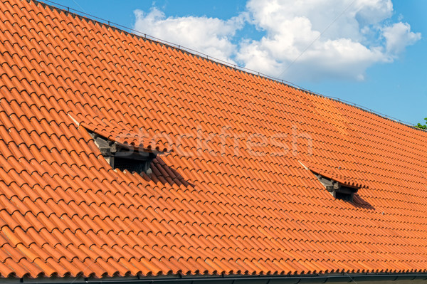 Traditional clay tile roof in sunny day. Stock photo © tuulijumala