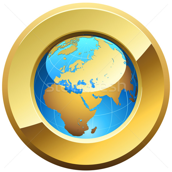 Globe button rimmed with golden glossy frame isolated on white. Stock photo © tuulijumala