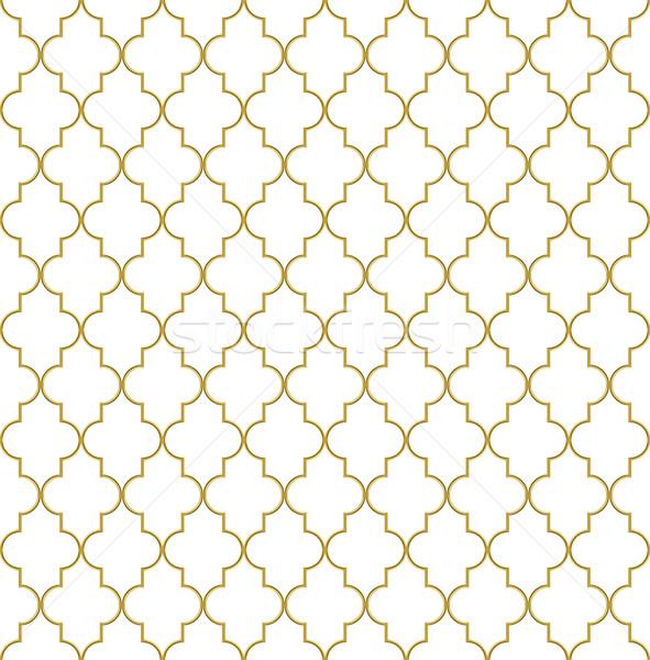 Seamless golden oriental window grille vector pattern. Stock photo © tuulijumala