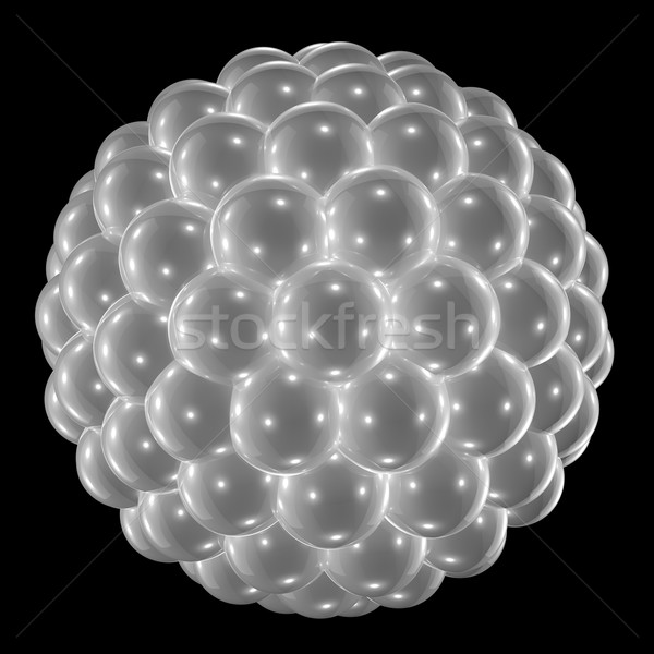 Stock photo: Shpere made of white pearls isolated on black background.