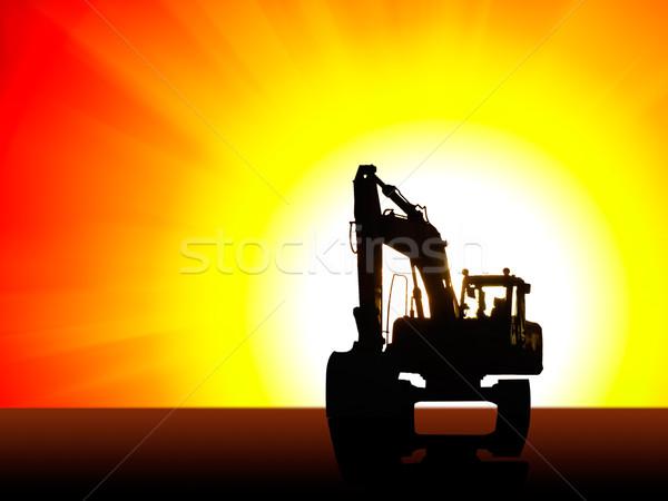 Kotrógép sziluett építkezés nap mögött égbolt Stock fotó © tuulijumala