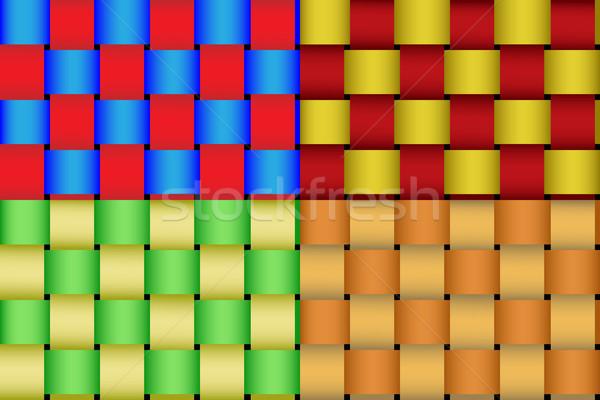 Vector seamless braided ribbon pattern. Four color schemes. Stock photo © tuulijumala