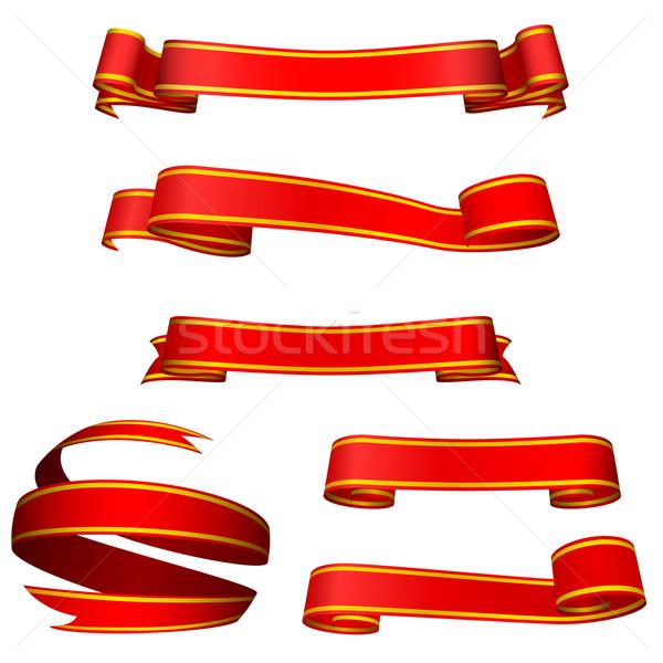 Czerwony banery odizolowany czarny projektu tle Zdjęcia stock © tuulijumala