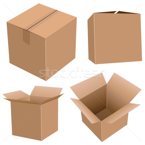 Stockfoto: Karton · dozen · ingesteld · geïsoleerd · witte · boord