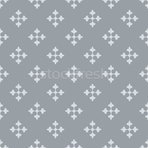 Seamless fleur de lis crosses grey vector background.  Stock photo © tuulijumala