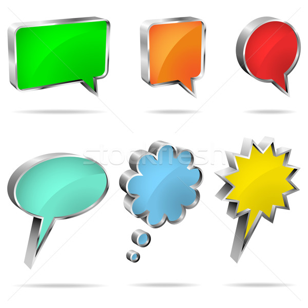 Vector set of 3D speech and thought bubbles isolated on white ba Stock photo © tuulijumala