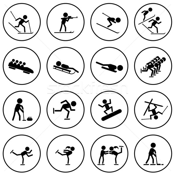 Black and white winter sports vector icons set. Stock photo © tuulijumala