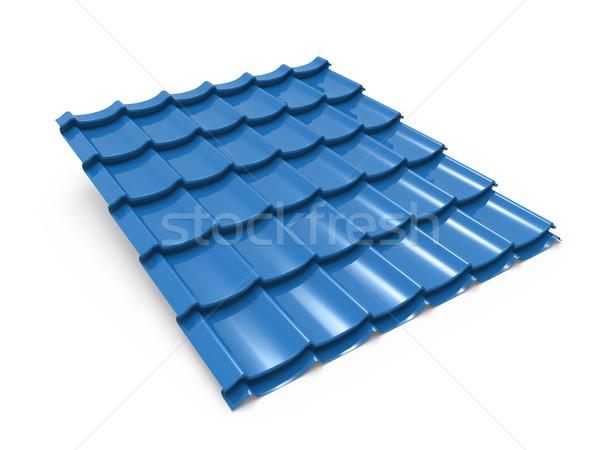 Niebieski metal Płytka odizolowany biały tekstury Zdjęcia stock © tuulijumala