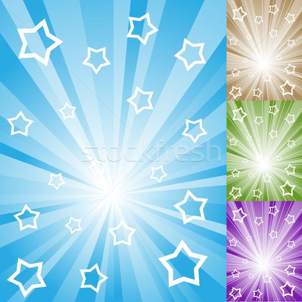 Abstract kleur licht stralen witte sterren Stockfoto © tuulijumala