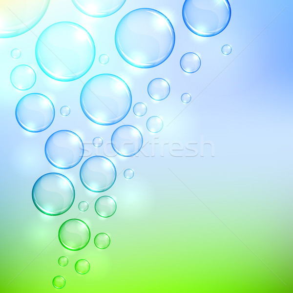 Soaring  bubbles background with copy space. EPS10 file. Stock photo © tuulijumala