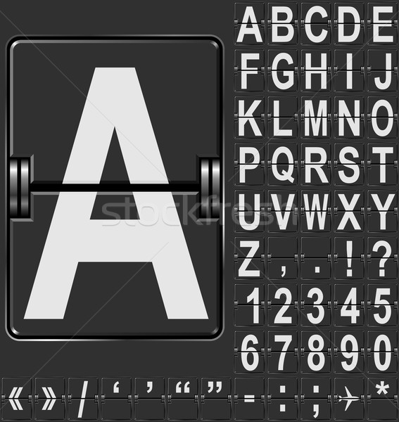 Alphabet in airport arrival and departure display style template Stock photo © tuulijumala