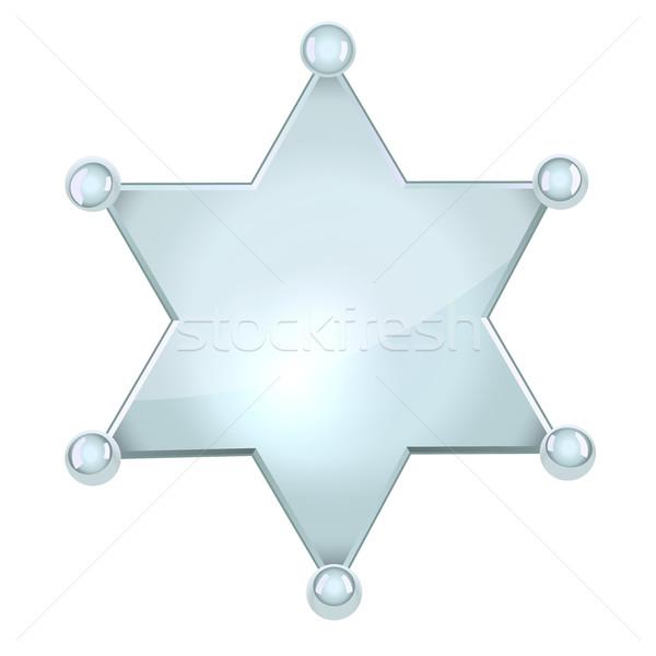 Ezüst sheriff csillag izolált fehér fém Stock fotó © tuulijumala