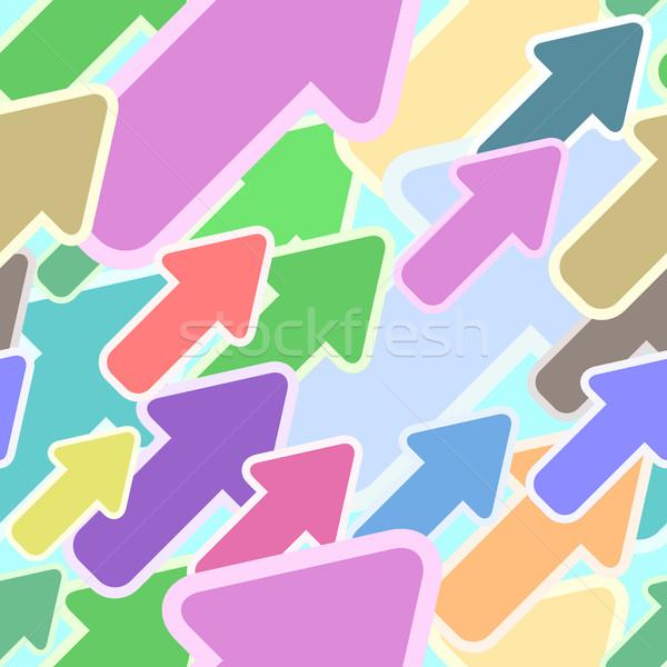 Abstract seamless multicolor diagonal arrow vector pattern. Stock photo © tuulijumala