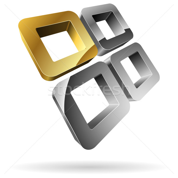 3D rounded steel squares with golden one.   Stock photo © tuulijumala