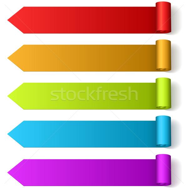 Coloré flèche roulé étiquettes isolé Photo stock © tuulijumala