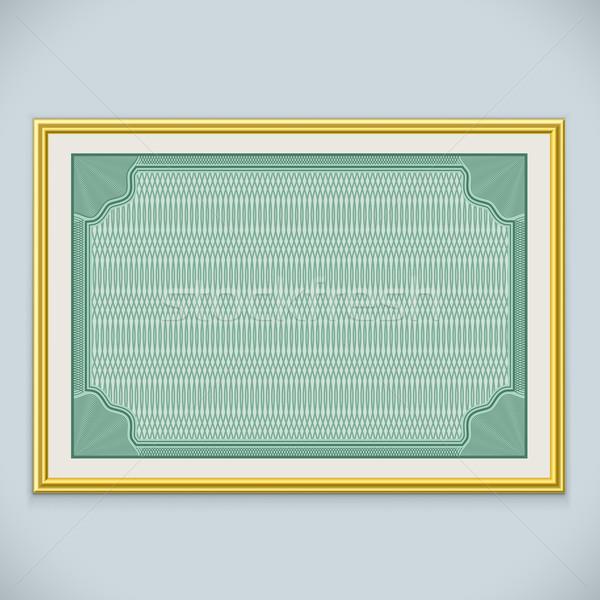 Horizontaal muur certificaat frame vector sjabloon Stockfoto © tuulijumala