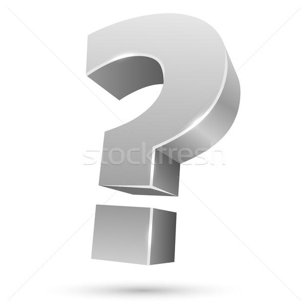 White 3D question mark isolated on white background. Stock photo © tuulijumala