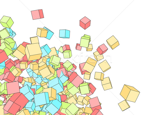 3D color cubes sketch style srawing background with white copy s Stock photo © tuulijumala