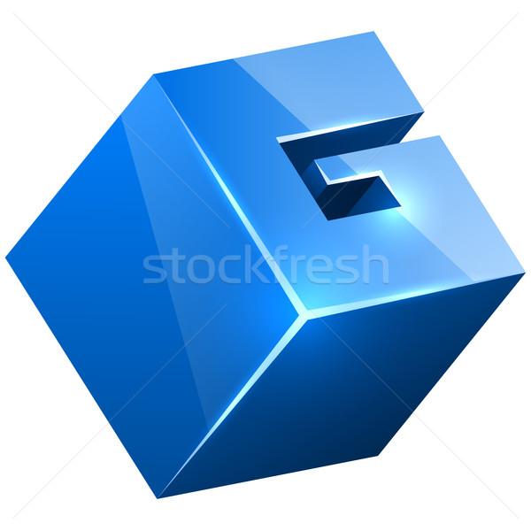 3D blue glossy G sign isolated on white background. Stock photo © tuulijumala