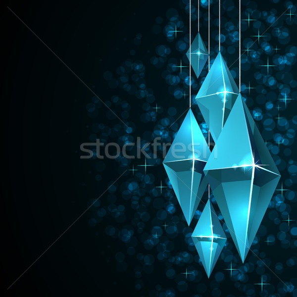 Black Christmas card with blue octagon glass decorations. Stock photo © tuulijumala