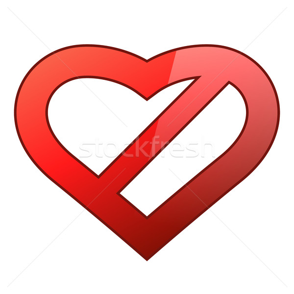 Abstract red heart shaped restriction sign Stock photo © tuulijumala