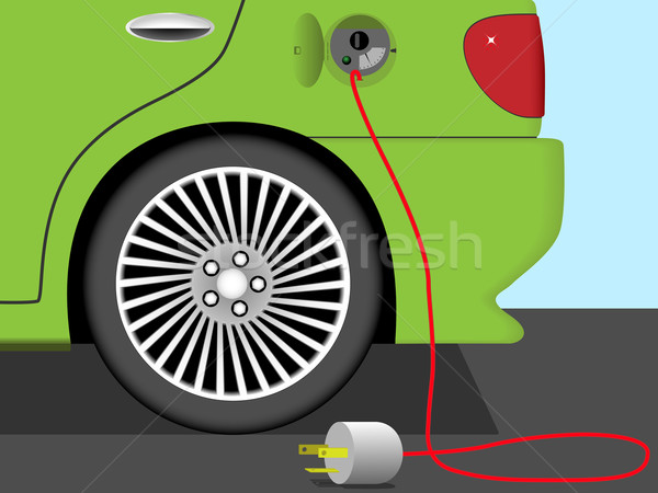 Elektrische auto industrie kabel energie toekomst verkeer Stockfoto © tuulijumala