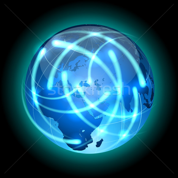 Globe with light traces rotating around. Stock photo © tuulijumala