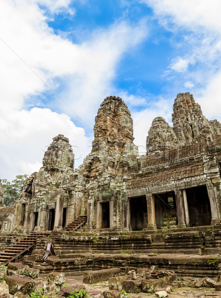 Bayon Khmer Temple stone ruins at Angkor, Siem Reap, Cambodia. Stock photo © tuulijumala