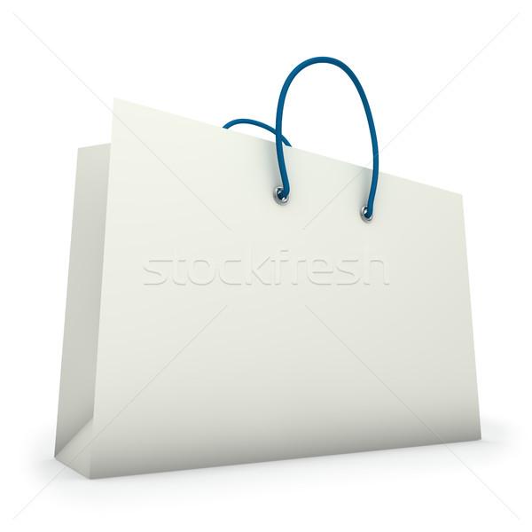 Biały zakupy torby papierowe odizolowany papieru moda Zdjęcia stock © tuulijumala