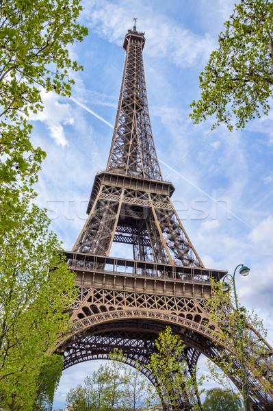 Eiffel kule mavi gökyüzü güneş mavi seyahat Stok fotoğraf © tuulijumala