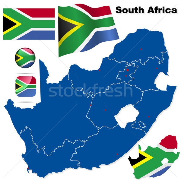South Africa vector set. Detailed country shape with region bord Stock photo © tuulijumala