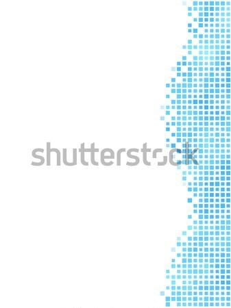 Stockfoto: Blauw · golvend · mozaiek · kant · element · witte
