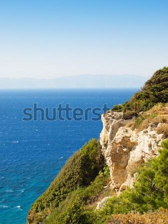 Zee rock voorgrond Griekenland hemel Stockfoto © tuulijumala