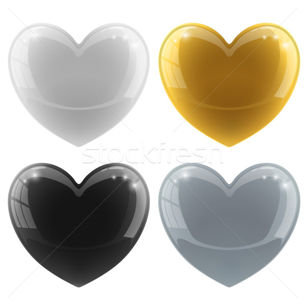 Glossy hearts vector set with color variants – white, black, g Stock photo © tuulijumala