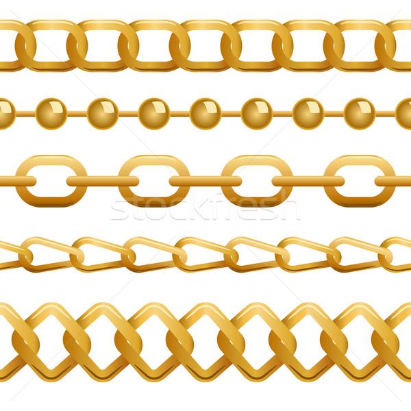 Seamless golden chains template Stock photo © tuulijumala