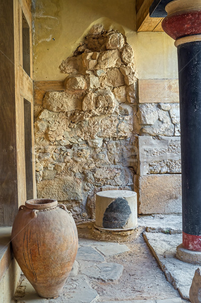 Knossos Palace colonnade interior with big ancient jar, Crete, G Stock photo © tuulijumala