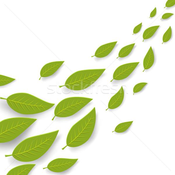 Abstract groene bladeren stroom zomer vector kopiëren Stockfoto © tuulijumala